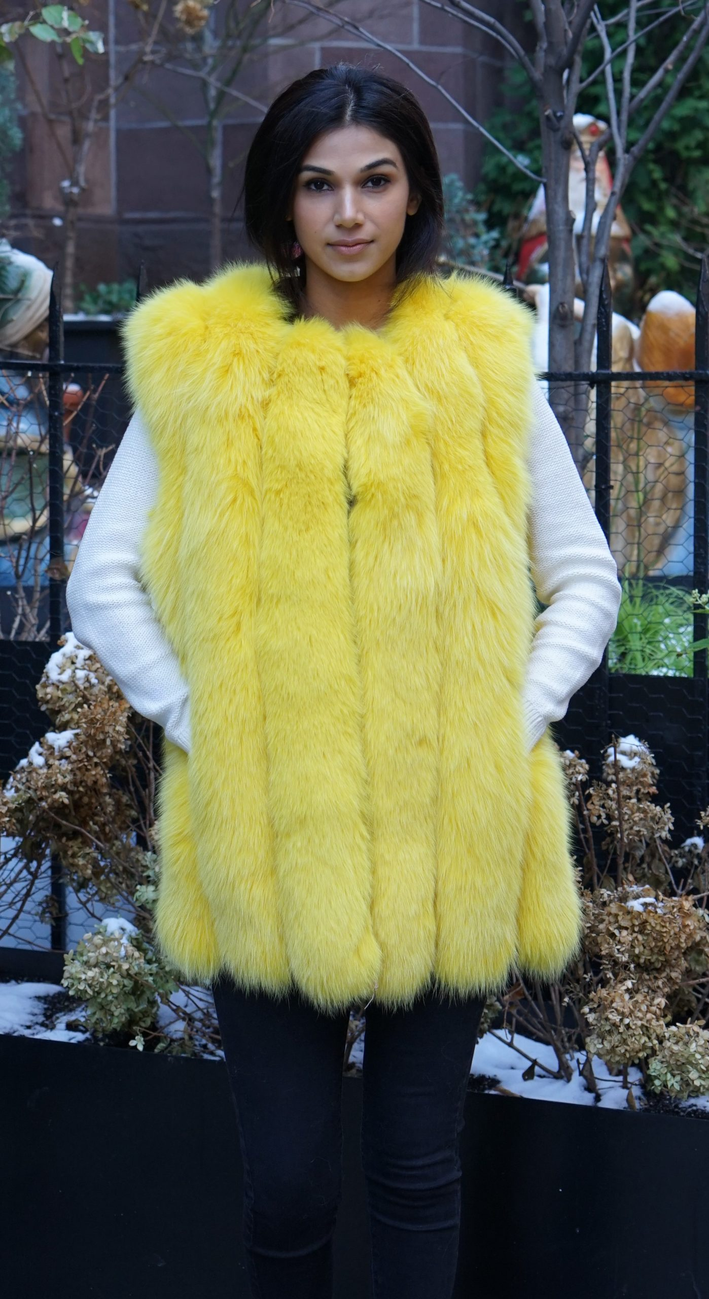 Yellow Fox Fur Vest