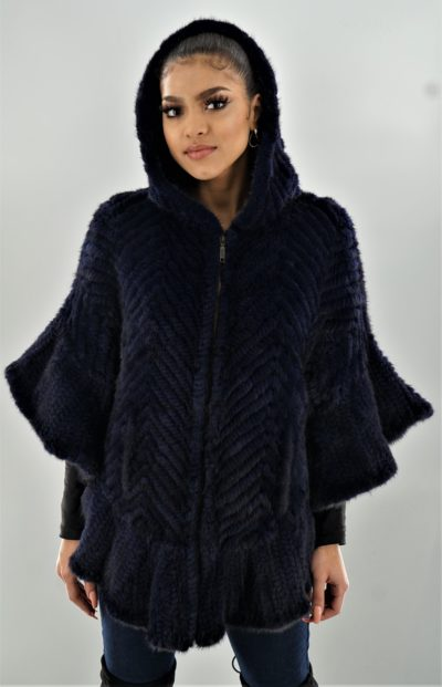 Navy Blue Knit Mink Poncho