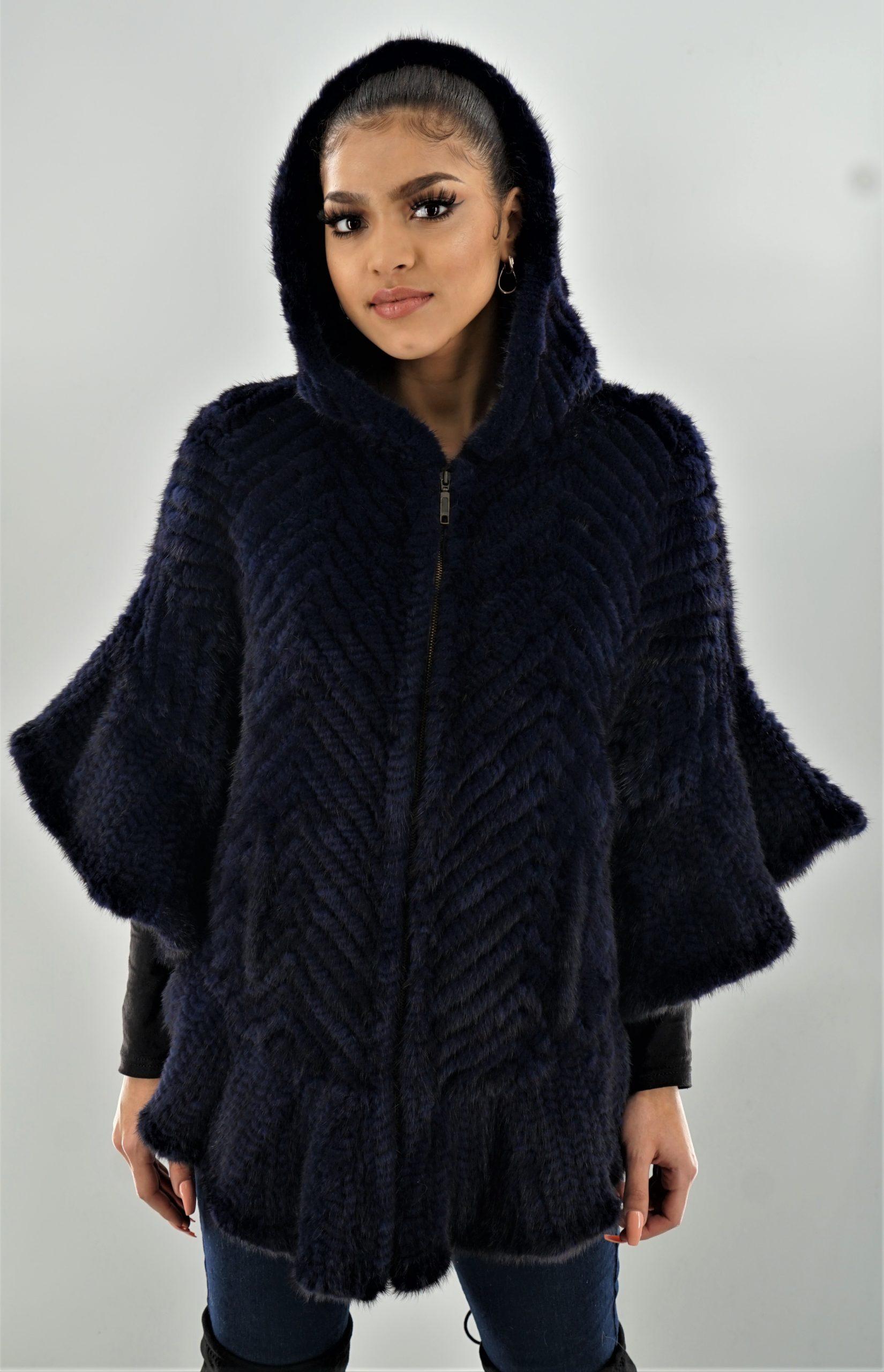 Navy Blue Knit Mink Poncho
