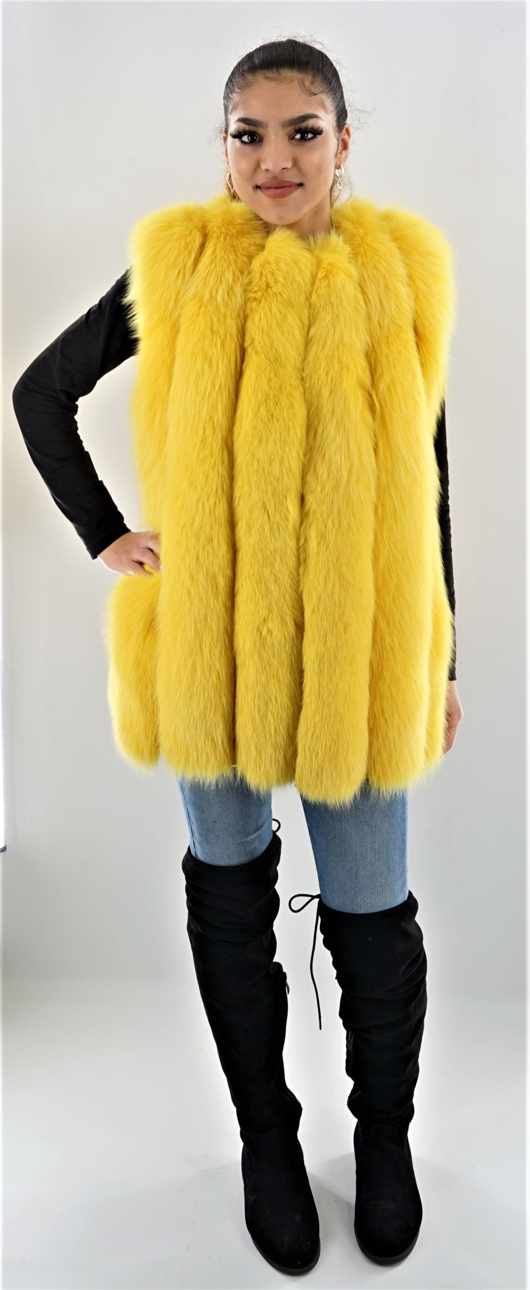Canary Yellow Vertical Fox Fur Vest