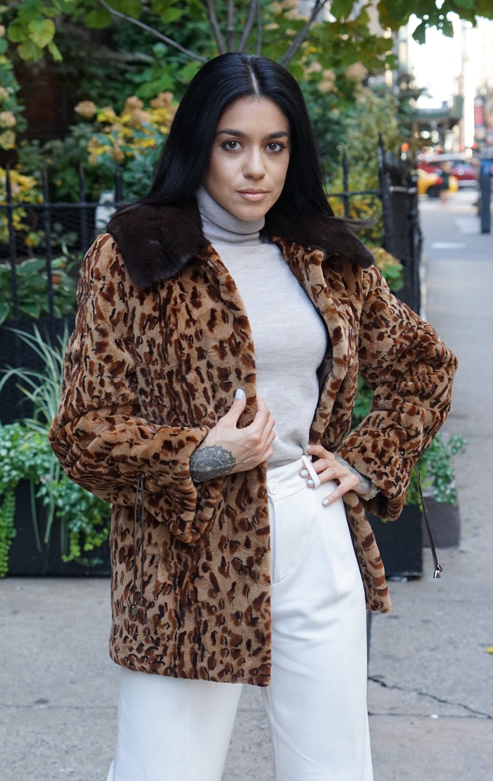 Leopard mink fur jackets