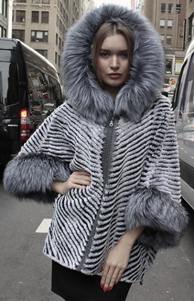Rex Rabbit Fur Poncho Silver Fox Fur Trim Hood