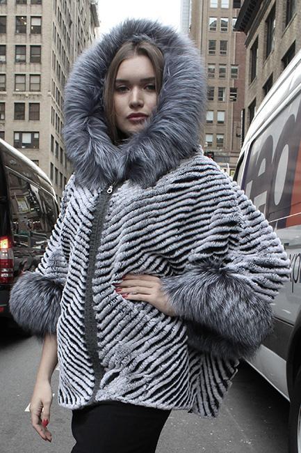 Rex Rabbit Fur Poncho Silver Fox Fur Trim Hood