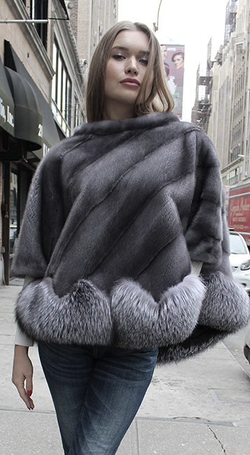 Blue Iris Fur Fox Fur Poncho
