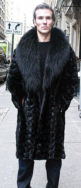 Mens Black Section Mink Fur Coat Black Fox Fur Collar