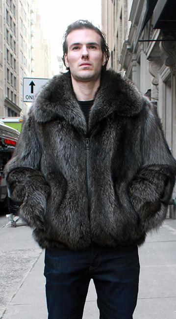 Mens Olive Beaver Fur Jacket