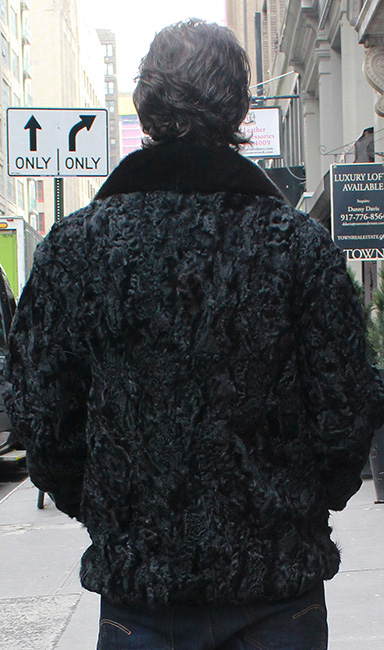 Mens Black Persian Jacket Black Mink Fur Collar