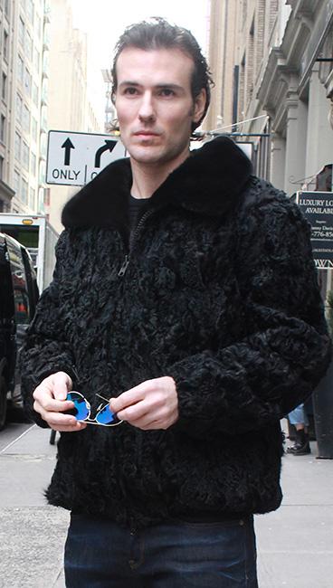 Mens Black Persian Jacket Black Mink Fur Collar