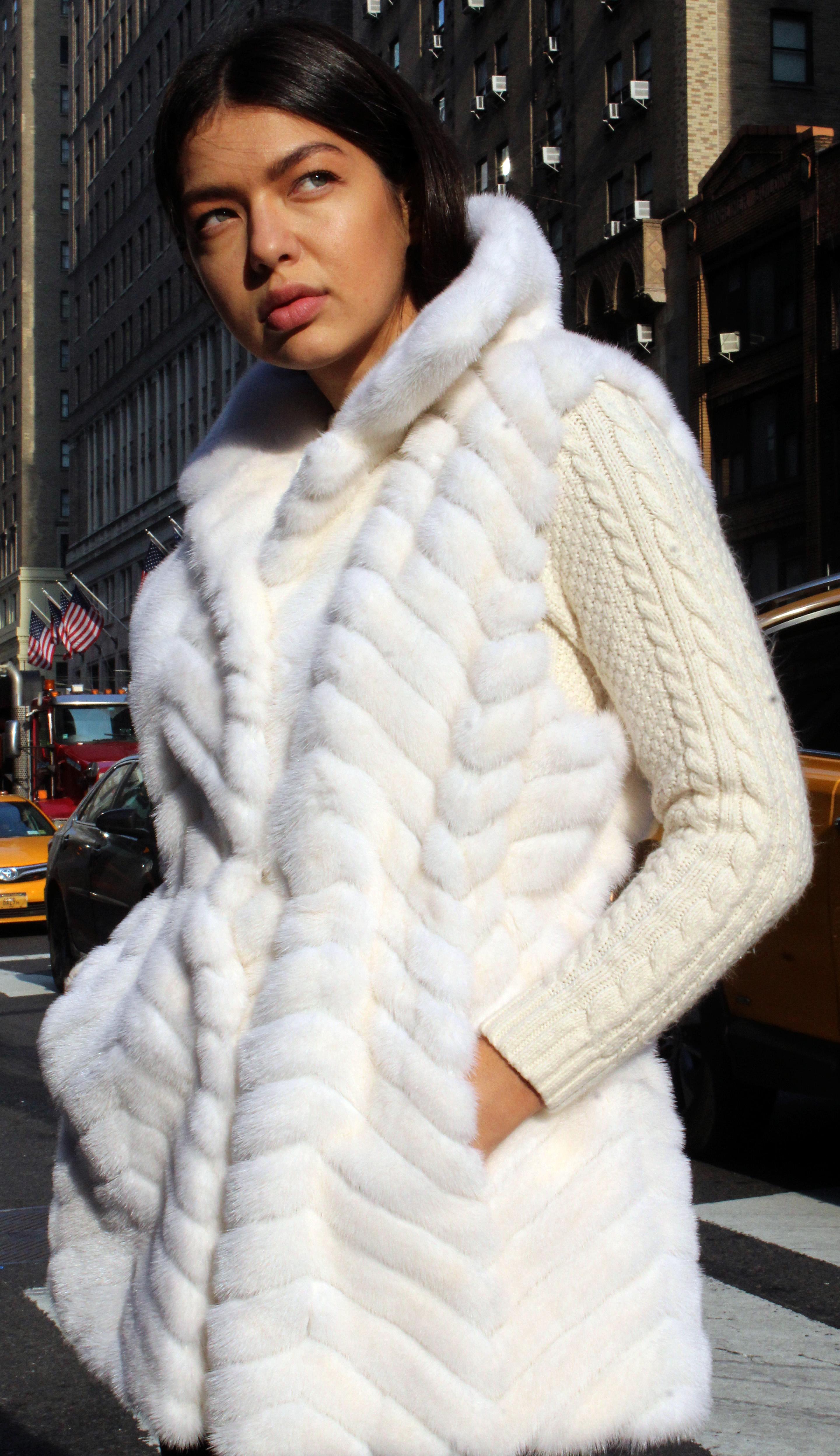White Mink Fur Horizontal Jacket