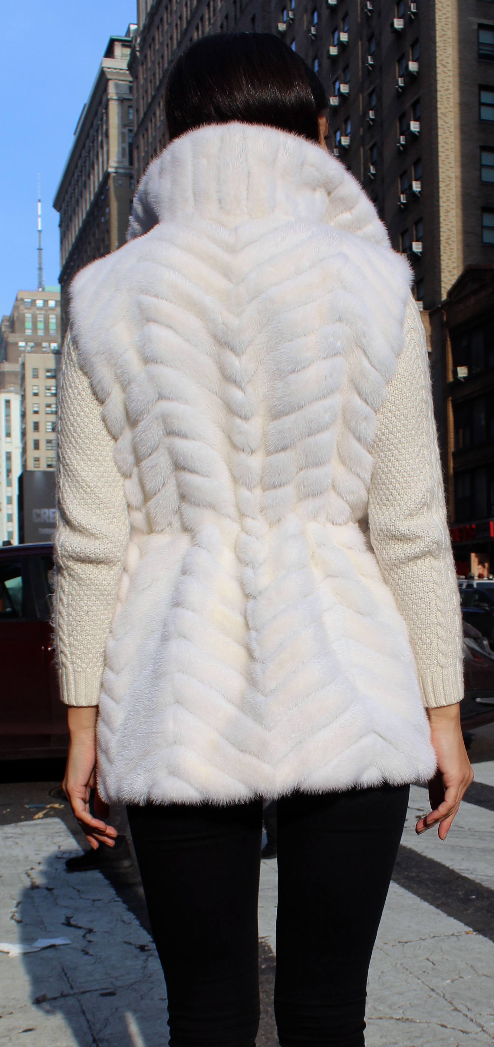 White Mink Fur Horizontal Jacket