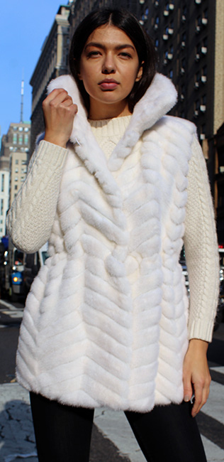 White Mink Fur Horizontal Vest