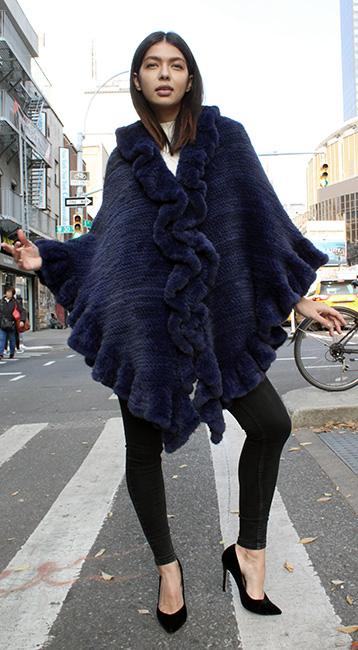 Dark Violet Knit Poncho Ruffled Trim Front