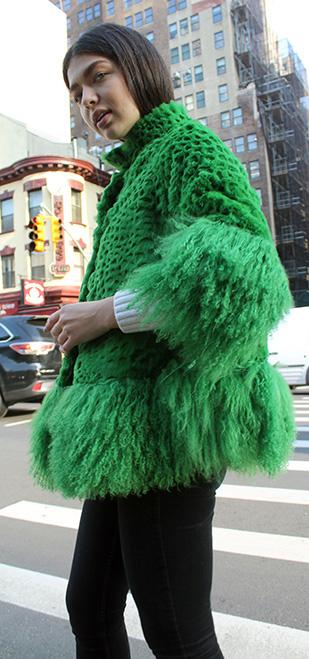 Green Rex Rabbit Fur Jacket Tibetan Lamb Fur Trim