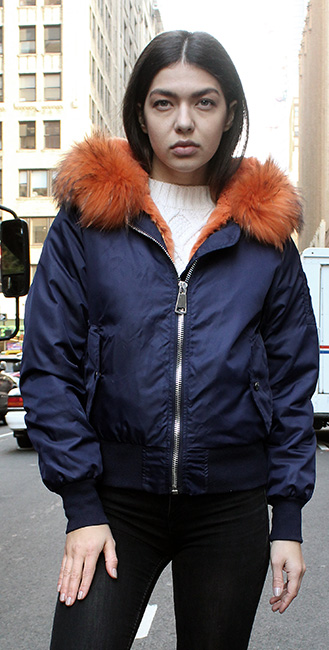 Blue Poplin Orange Rex Fur Lined Jacket Hood