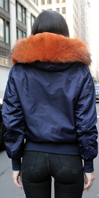 Blue Poplin Orange Rex Fur Lined Jacket Hood