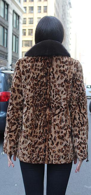 Mahogany Leopard Print Mink Fur Jacket Mahogany Mink Fur Collar