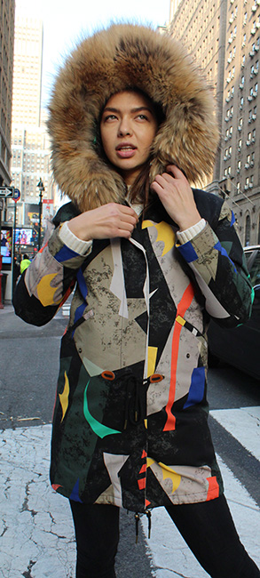 Artistic Print Raccoon Fur Lined Coat Raccoon Fur Trim Hood