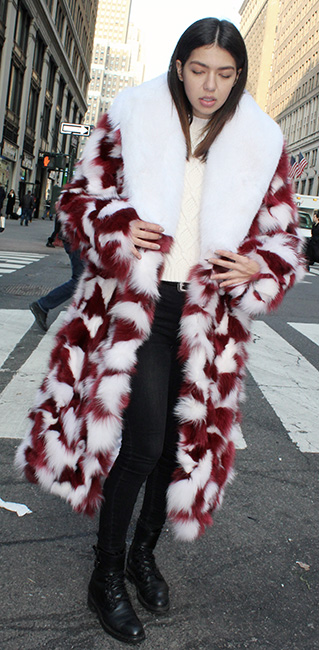 Womens Red White Peppermint Fox Fur Coat