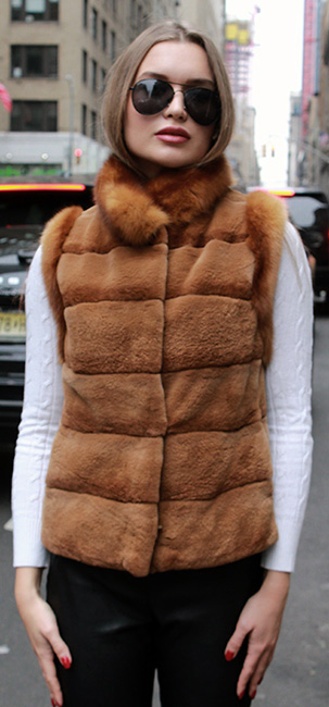 Light Brown Mink Fur Vest Sable Trim