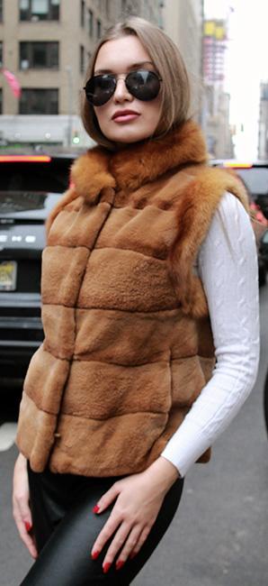 Light Brown Mink Fur Vest Sable Trim
