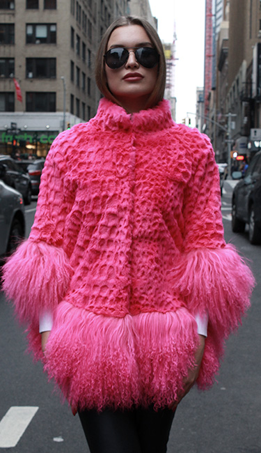 Pink Mink Fur Jacket Tibetan Lamb