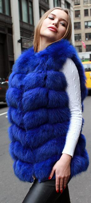 Navy Blue Fox Fur Vest