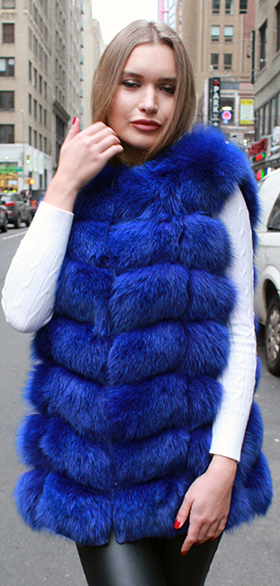 Navy Blue Fox Fur Vest