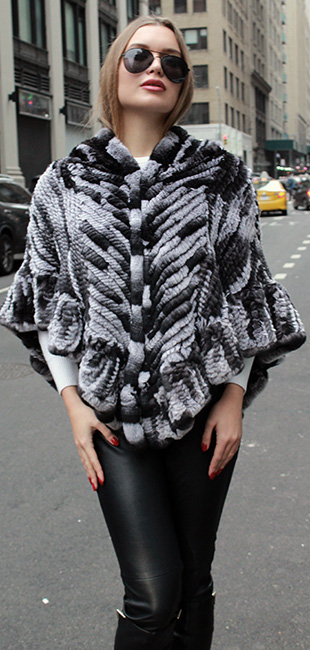 Black White Knit Rabbit Fur Poncho Hood