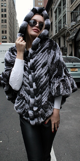 Black White Knit Rabbit Fur Poncho Hood