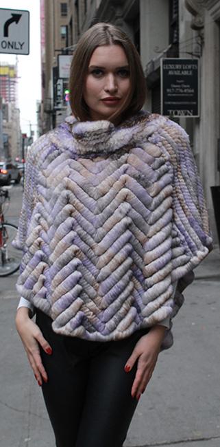 Colorful Knit Rex Rabbit Fur Poncho