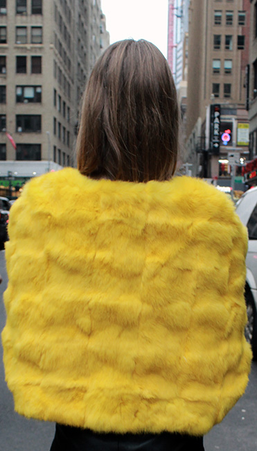 Yellow Rabbit Fur Capelet
