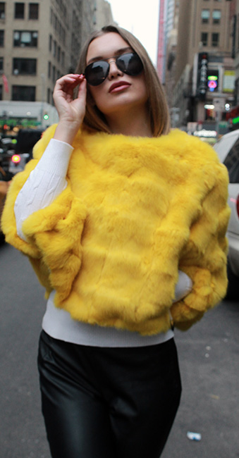 Yellow Rabbit Fur Capelet