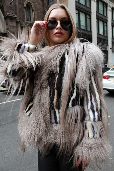 Colorful Striped Mink Fur Jacket Tibetan Lamb Fur Trim