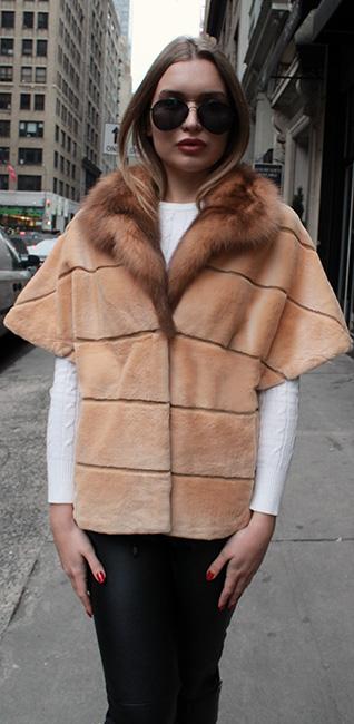 Burnt Orange Mink Fur Short Sleeved Jacket Sable Collar