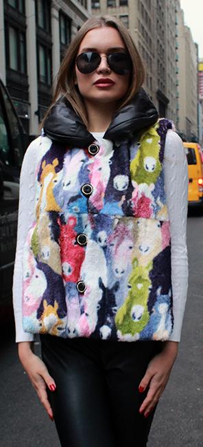 Horse Print Reversible Rex Rabbit Fur Vest