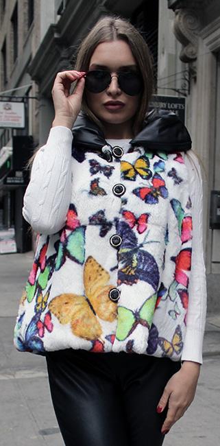 Butterfly Print Reversible Rex Rabbit Fur Vest