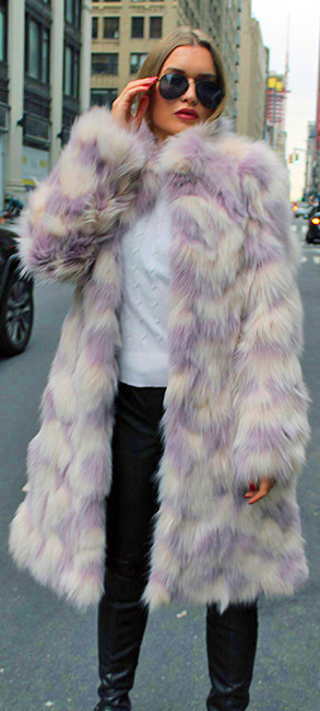 Lavender White Fox Fur Coat