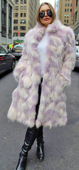 Lavender White Fox Fur Coat