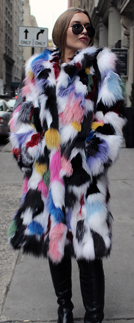Colorful Patchwork Fox Fur Coat