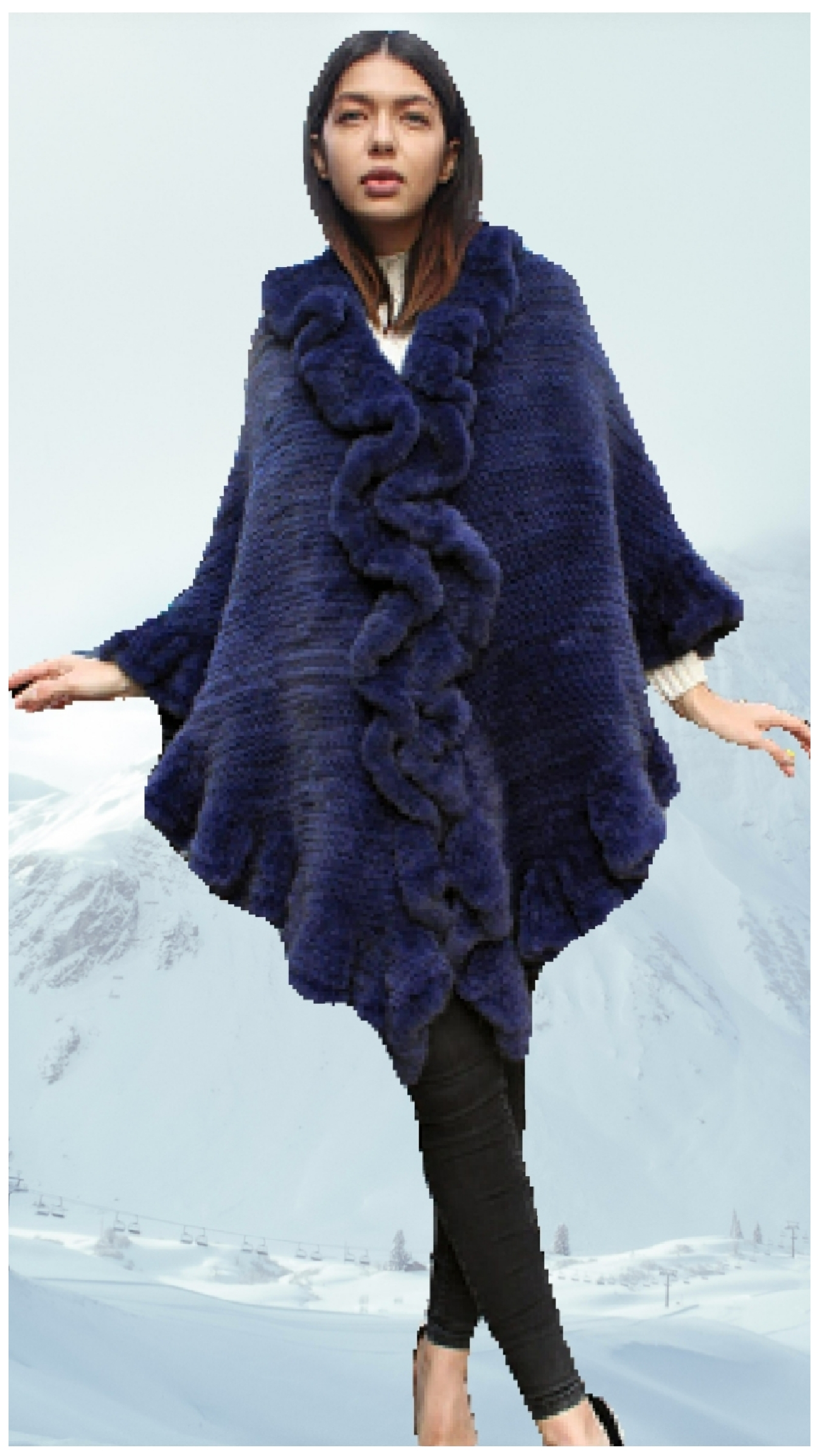 blue knit fur poncho