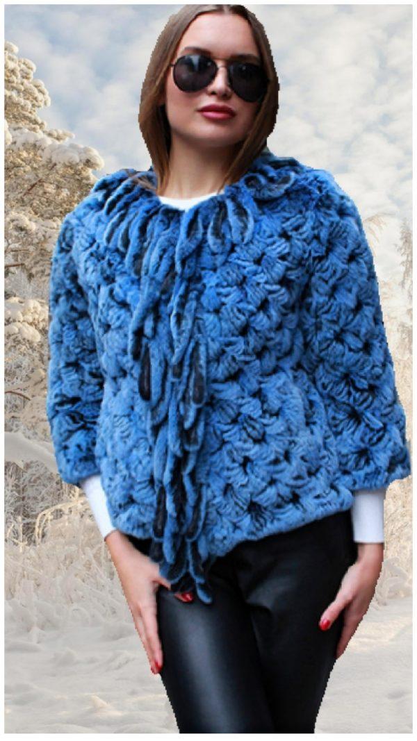 blue knit rex rabbit fur jacket