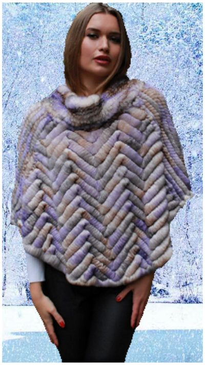 colorful knit rex rabbit fur poncho