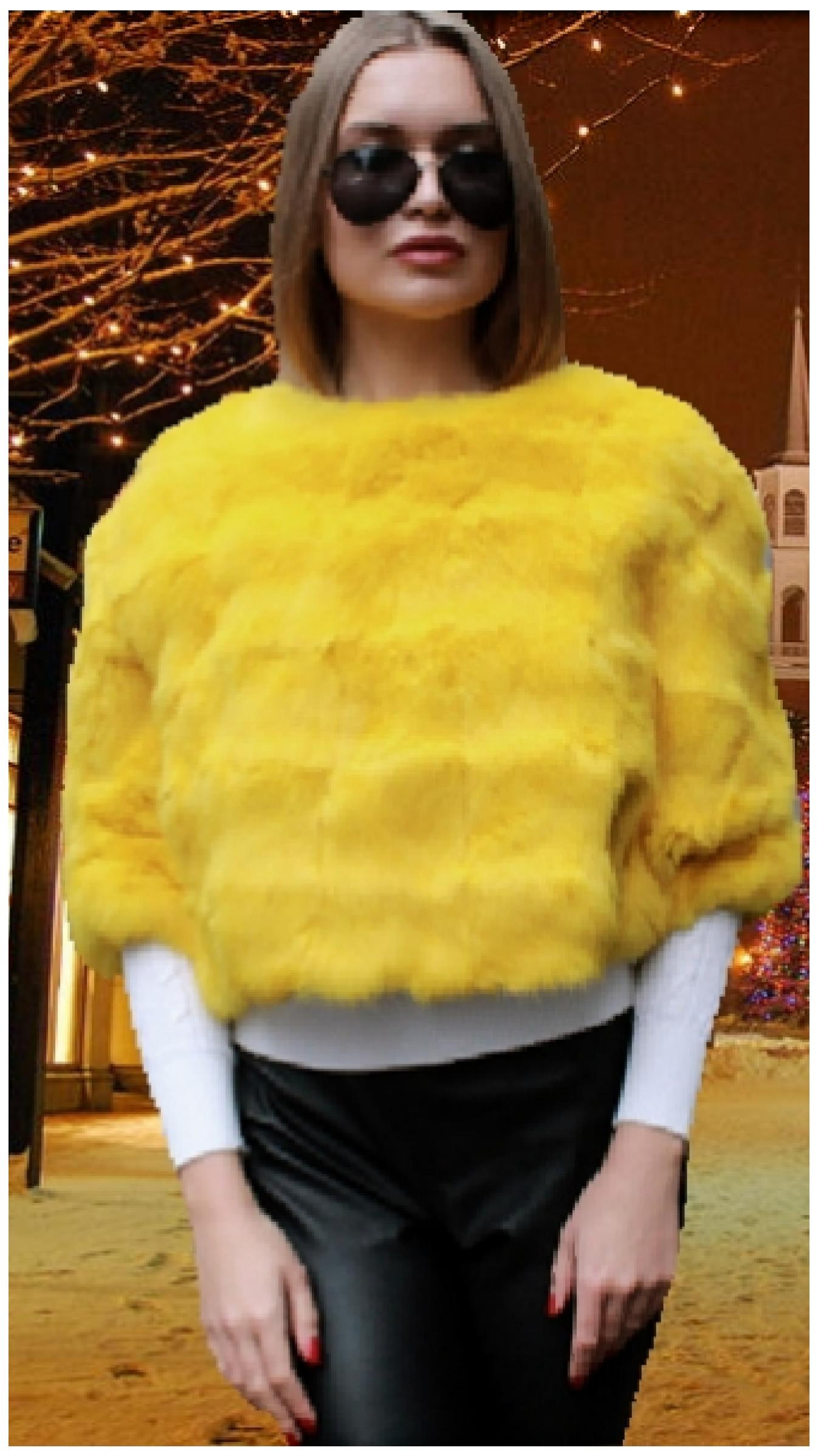 yellow rabbit fur caplet