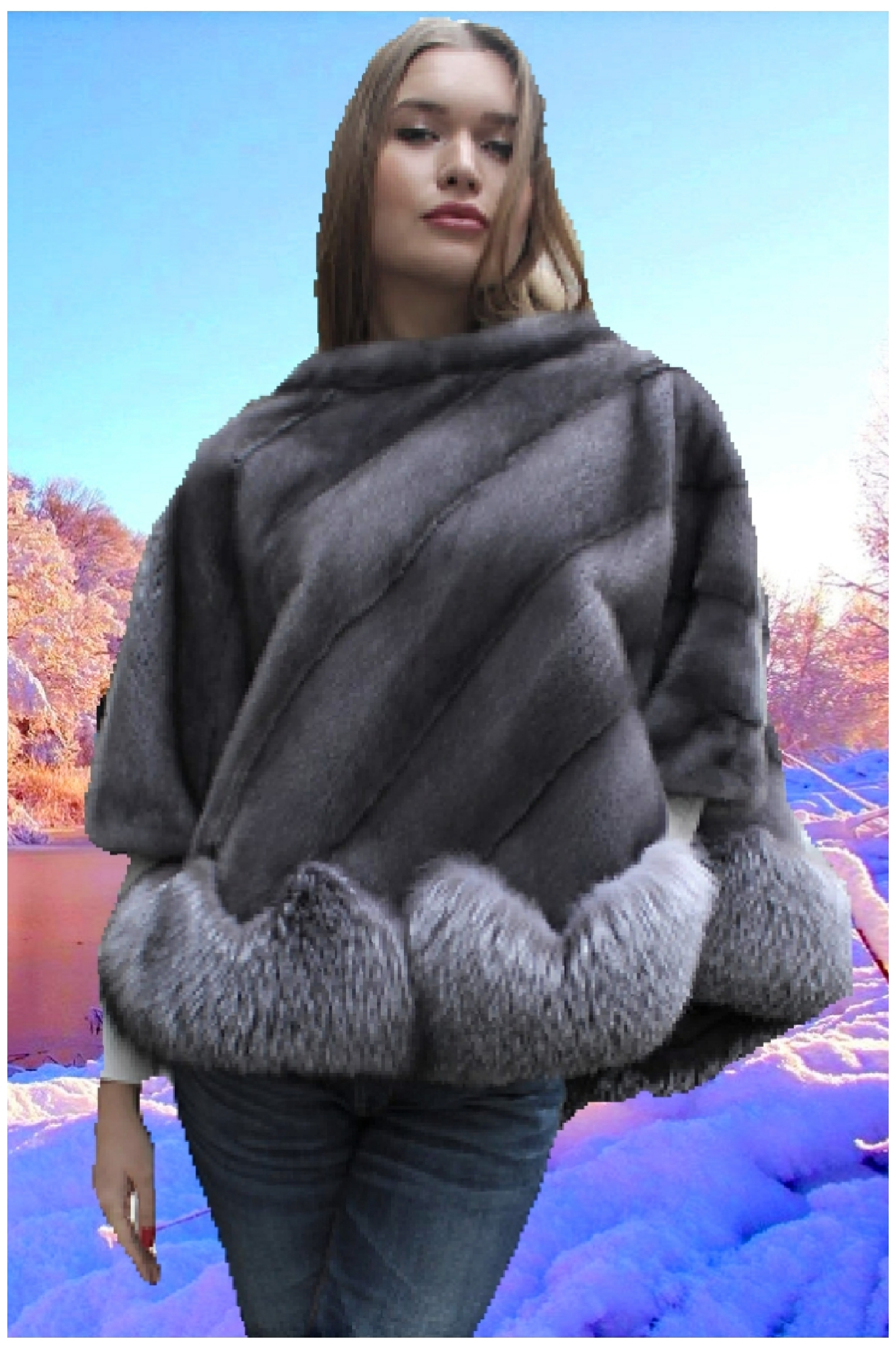 blue iris fox fur poncho