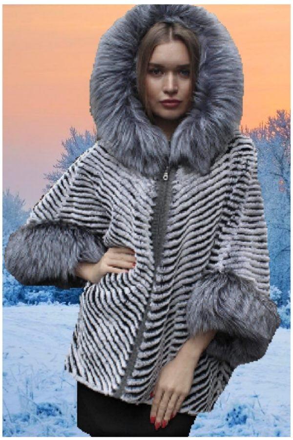 rex rabbit poncho silver fox
