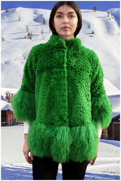 green rex rabbit fur jacket tibetan lamb fur trim