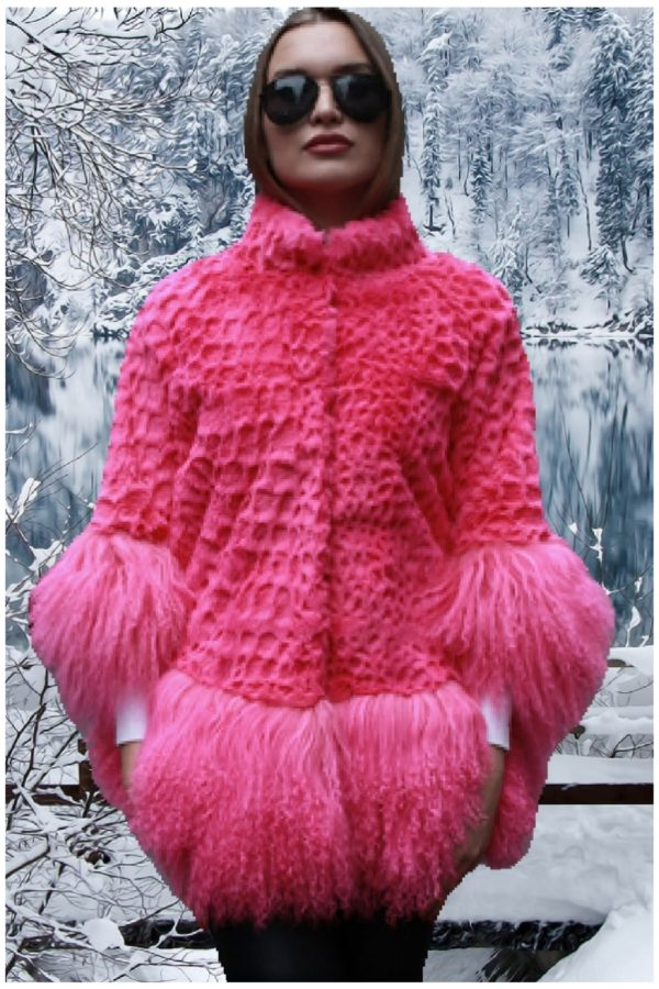 pink rex rabbit fur jacket tibetan lamb