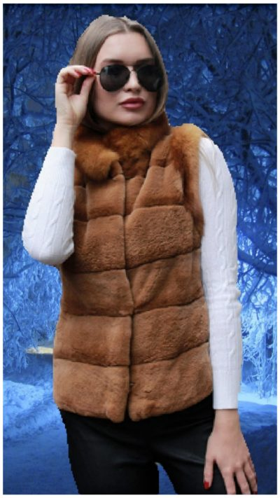 light brown mink fur vest sable