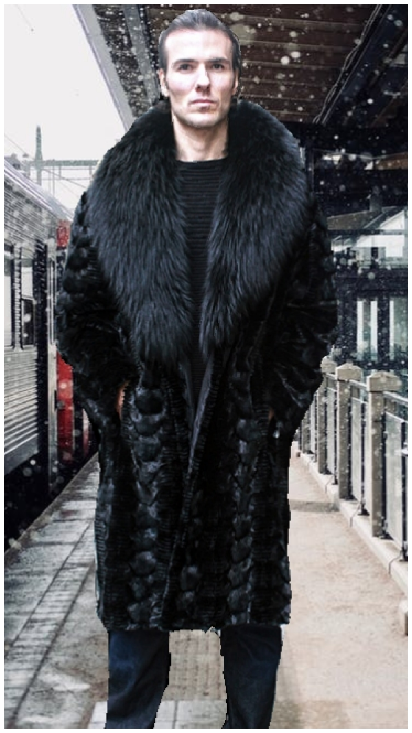 b551a5bcdb Mens Black Section Mink Fur Coat Black Fox Fur Collar 4944 | MARC ...