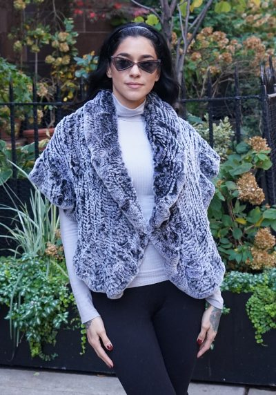 Gray Knit Rex Rabbit Fur Capelet